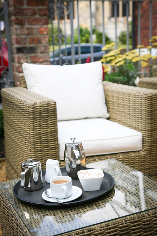 Tea and coffee in the garden at the Parisi Hotel in York